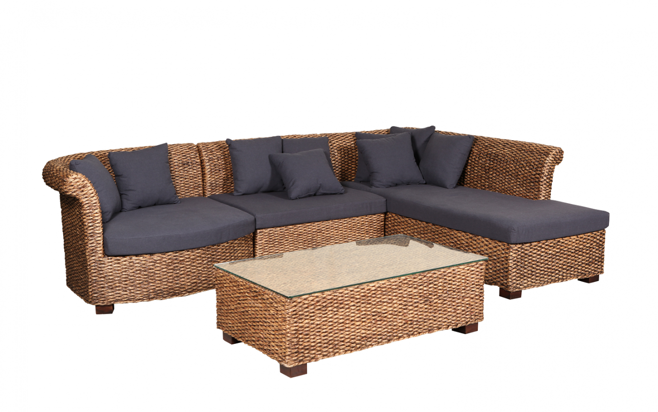 Orlando modular with coffee table water hyacinth 2850mm x 1900mm x 750mm available at drovers inside and out