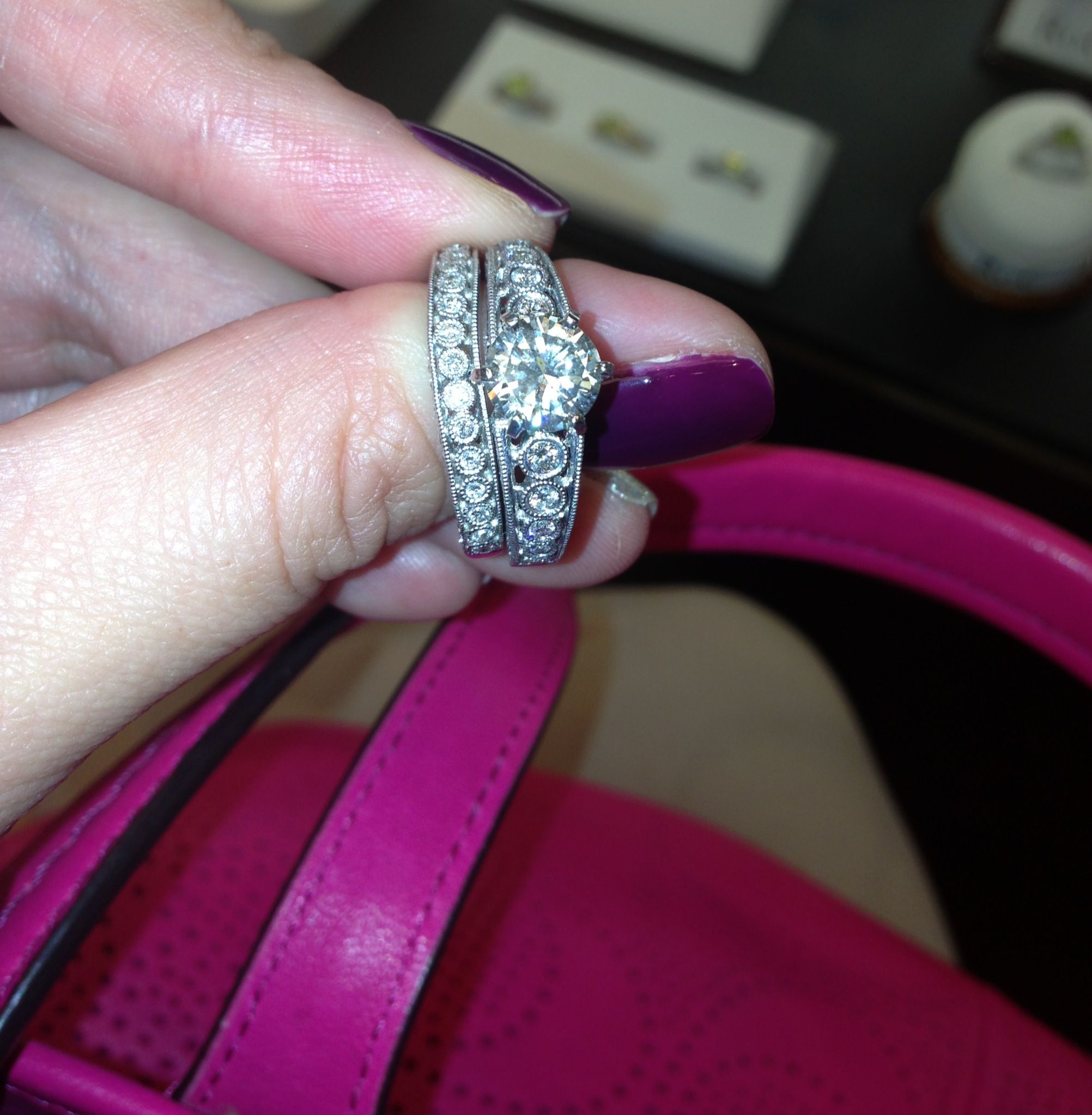 We went to go look at my wedding band today. Diamond on