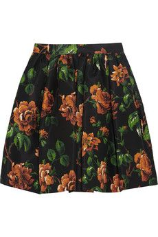 Miu Miu Floral-print silk-faille mini skirt | THE OUTNET