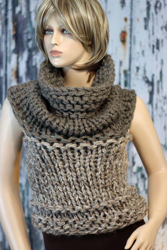 Hand Knit 2-tone Convertible Vest, Cowl, Cape, Snood, Shoulder Wrap ...