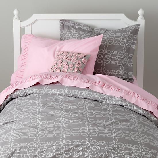 the land of nod girls bedding grey looped bedding set in girl bedding love this for my. Black Bedroom Furniture Sets. Home Design Ideas
