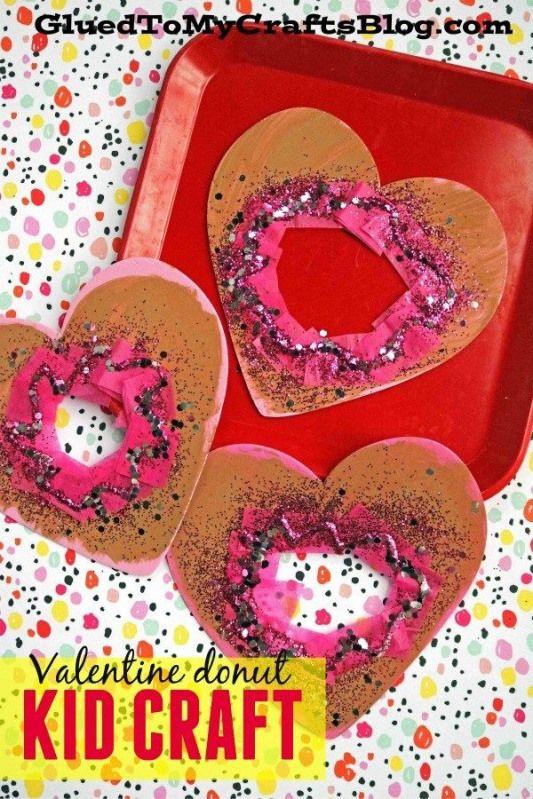 Craft Foam Heart Valentine Donut - Kid Craft