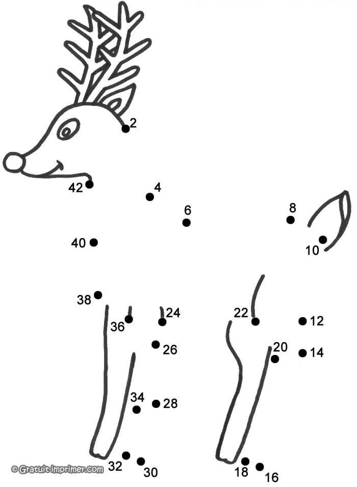 Jeu a relier jeu renne noel a imprimer pour enfant - Relier des points ...