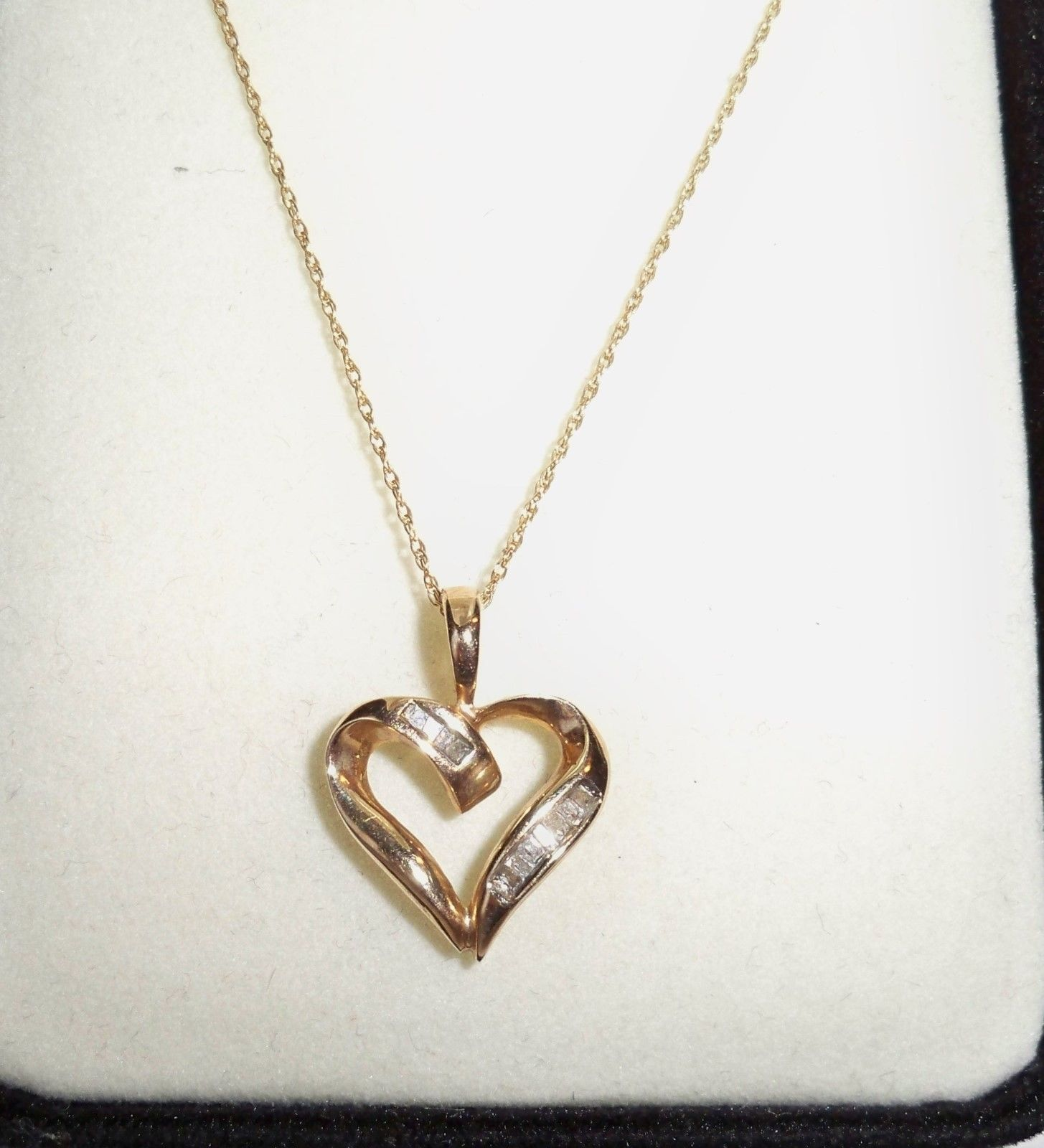 Vintage Solid 10k Gold Diamond Heart Pendant With 10k Gold Necklace Jewelry Cadenitas De Oro Oro Rojo Cadenas