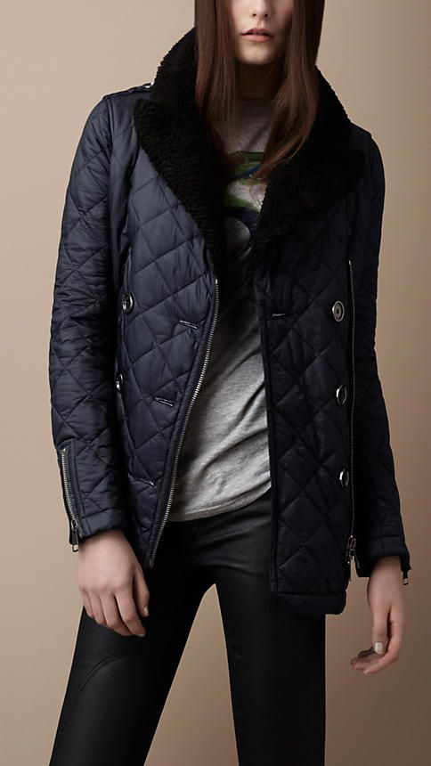 Burberry Shearling Collar Quilted Pea Coat   Burberry   Pinterest ... : quilted pea coat - Adamdwight.com