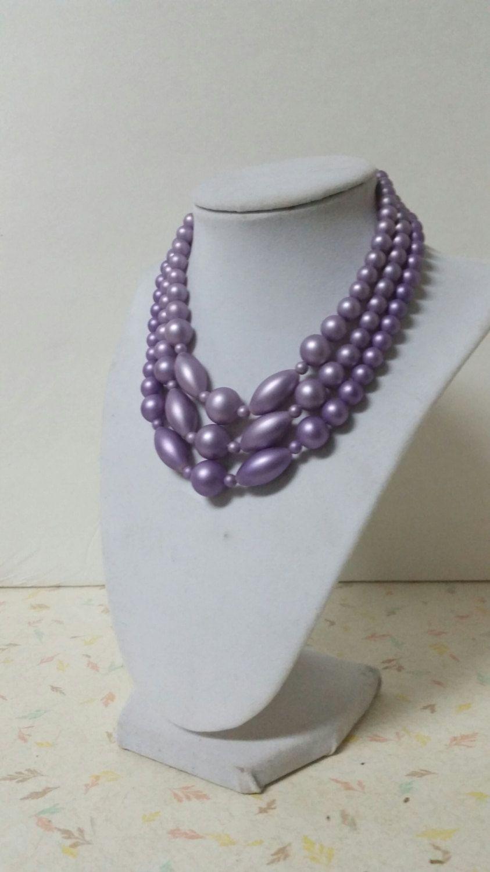 Vintage Lavender Purple 3 Strand Beaded Necklace by RavishingRetro, $16.00