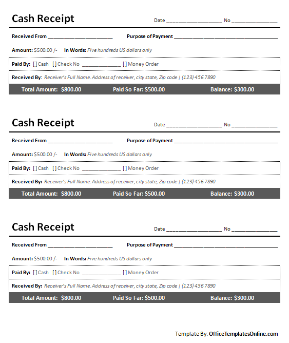cash receipt sample