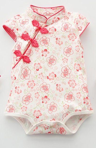 39c0e7c2e5cb CSR011 New Baby Girls Cherry Blossoms Cheongsam Qipao Romper Bodysuit