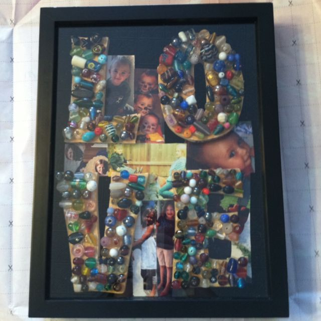 Christmas gift from the kids to there Mom & Dad. Used a shadow box and they decorated the wooden ...