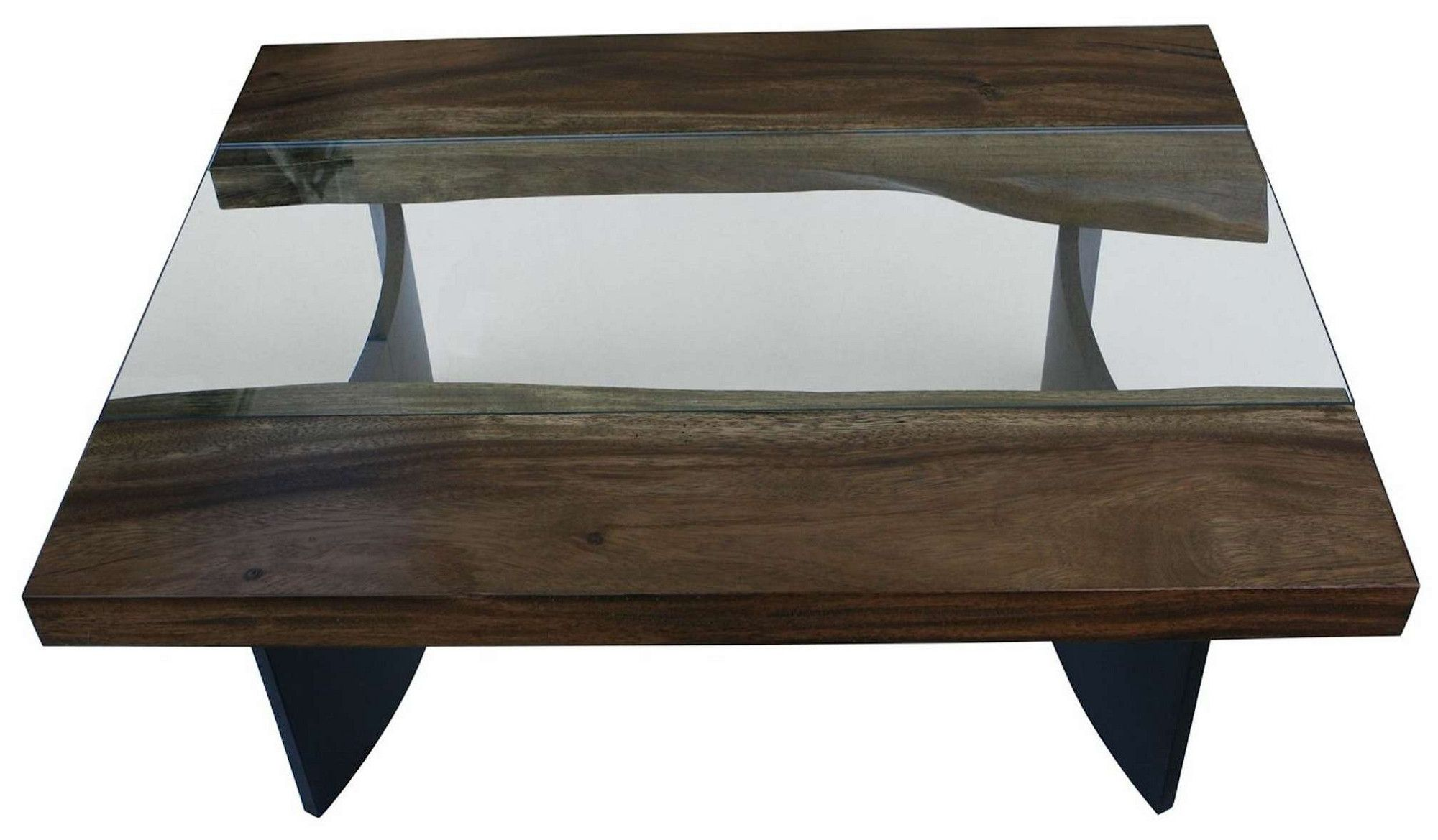 Live Edge Modern Industrial Coffee Table Square Glass Coffee