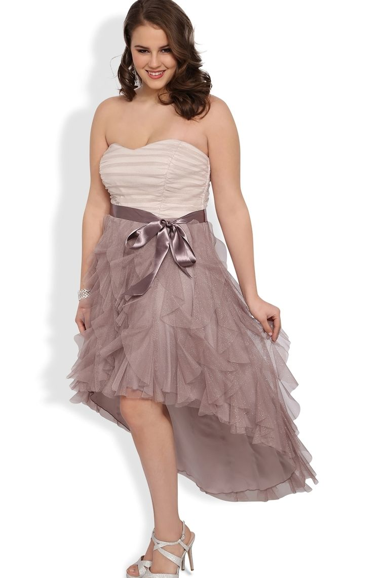 Strapless plus size glitter ruffle high low prom dress with side