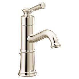 Moen Belfield Polished Nickel 1 Handle Single Hole Watersense Bathroom Sink Faucet With Drain 6402nl With Images Single Hole Bathroom Faucet Bathroom Faucets Belfield