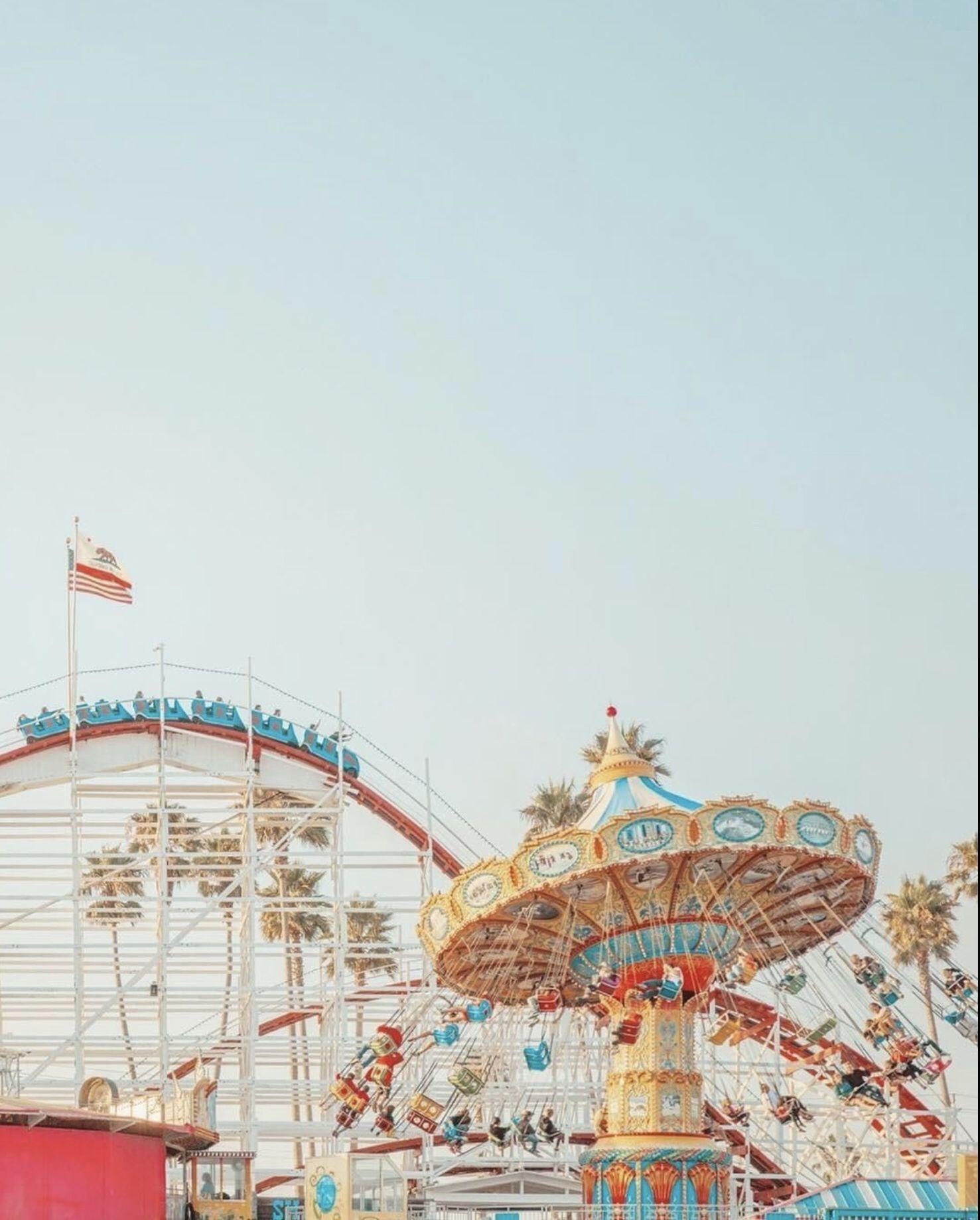 Santa Cruz Ca Beach And Boardwalk Photo Wall Collage Amusement Park Aesthetic Wallpapers