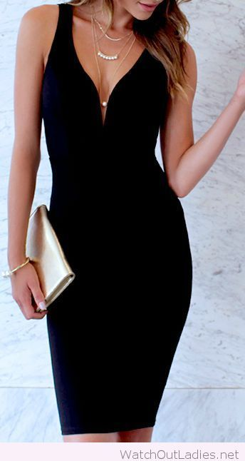 a5360190fb Lovely mini black dress with gold accessories