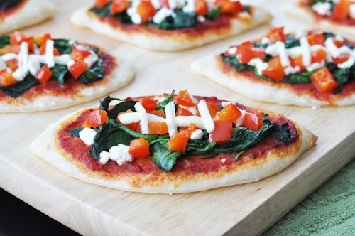 Mini Spinach Football Pizza