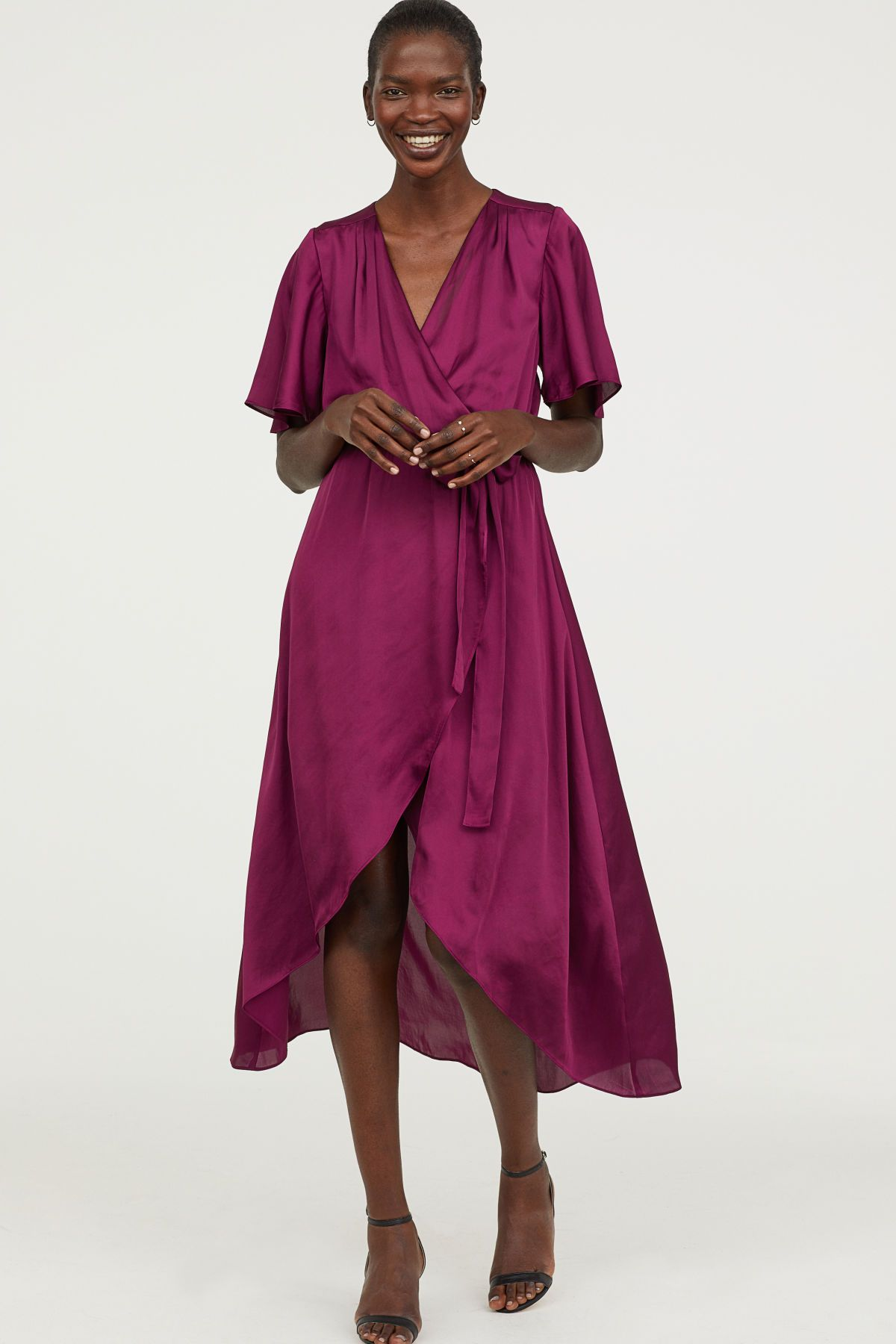 Purple long satin dress with a vneck sewn wrapover at front and