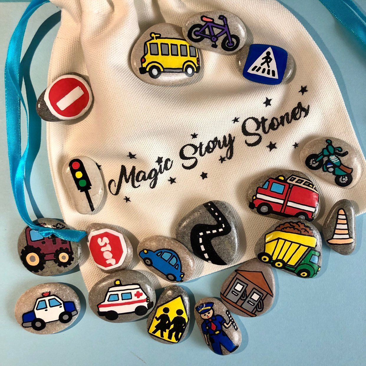 Story Stones - Traffic Montessori Toy, Birthday gift for 3 years old boy and girl #creativeartsfor2-3yearolds
