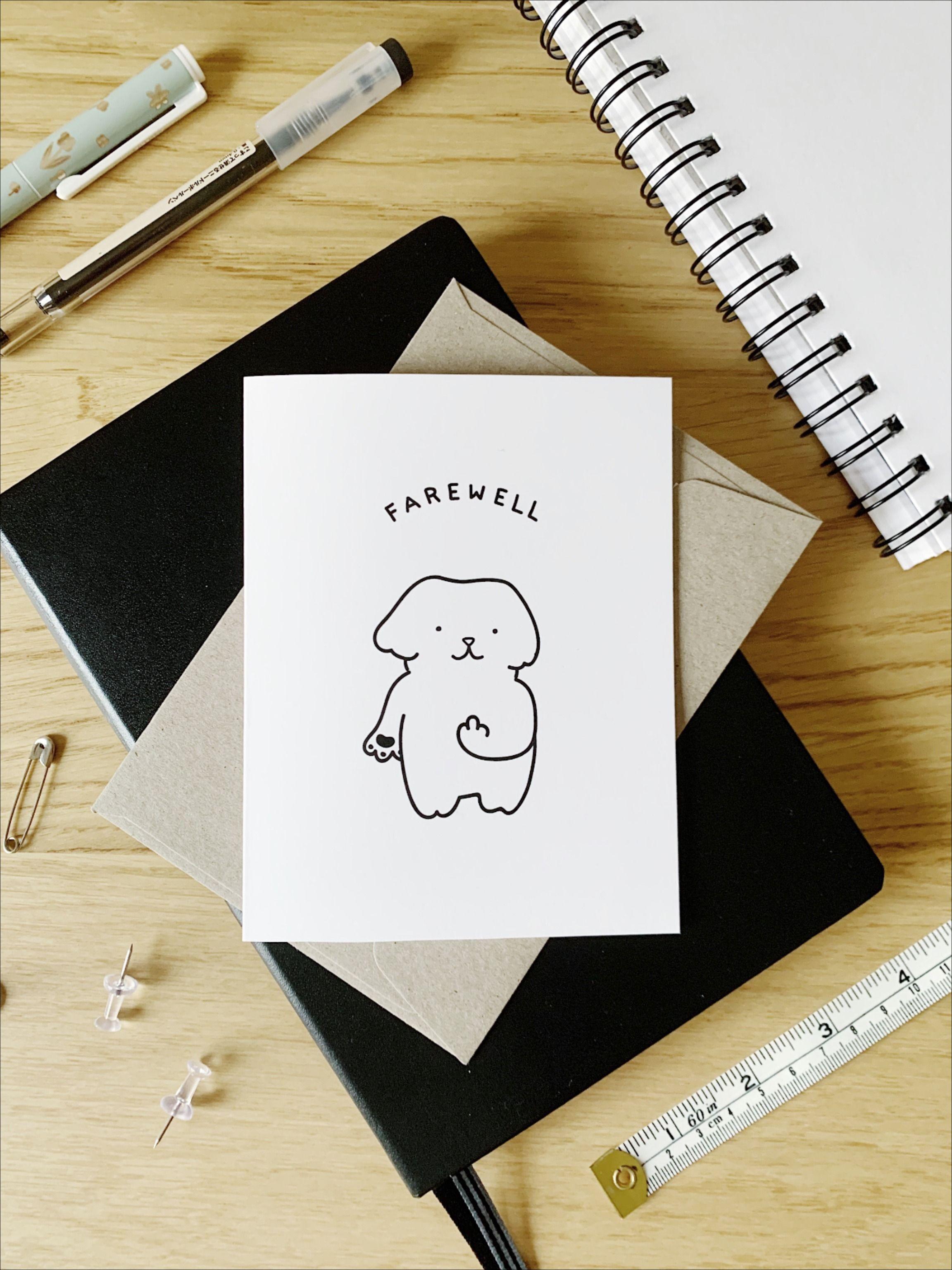 cute dog farewell card  farewell cards etsy cards cards
