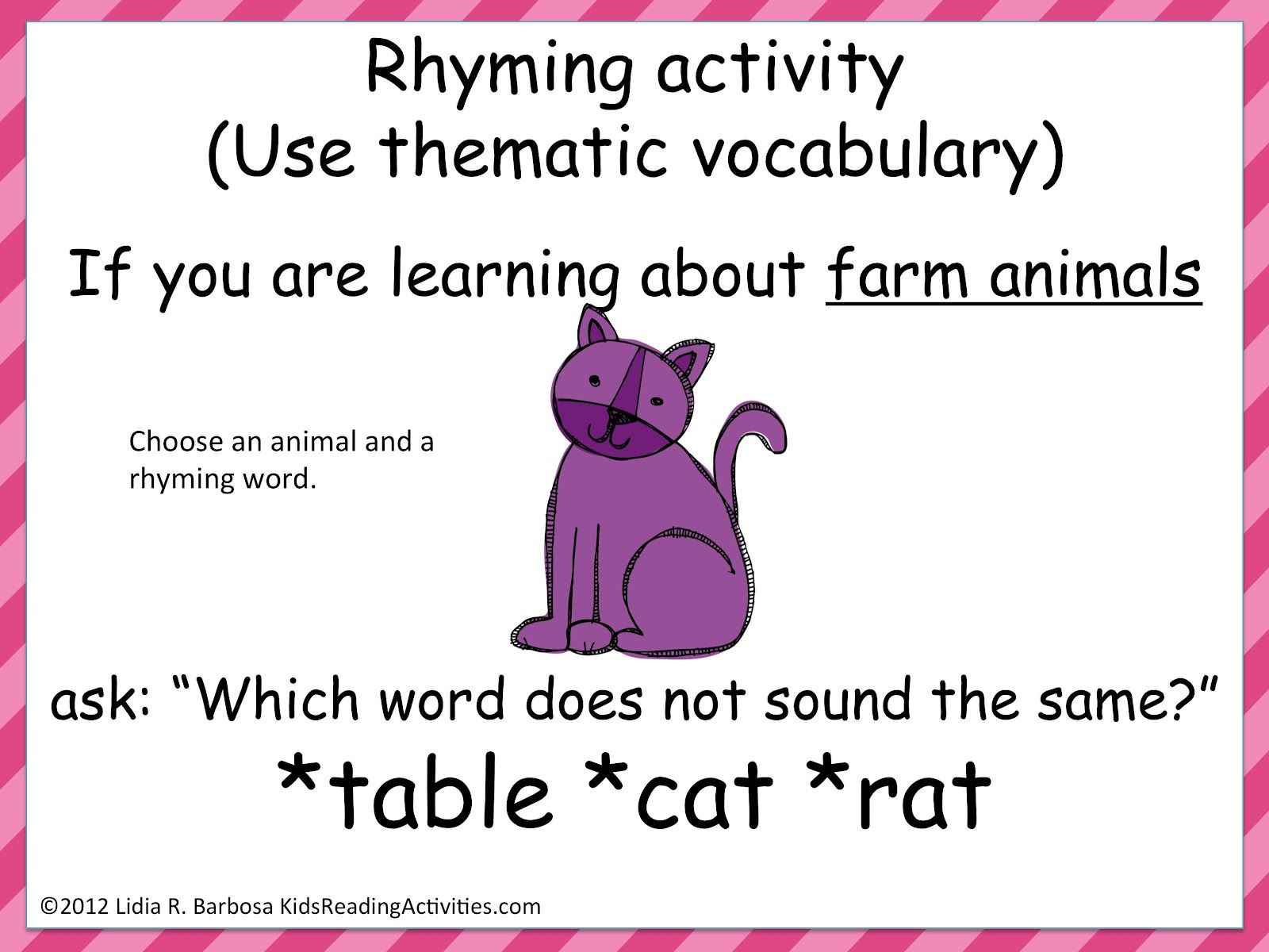 Rhymes Students Can Clap Or Stand When They Hear A A