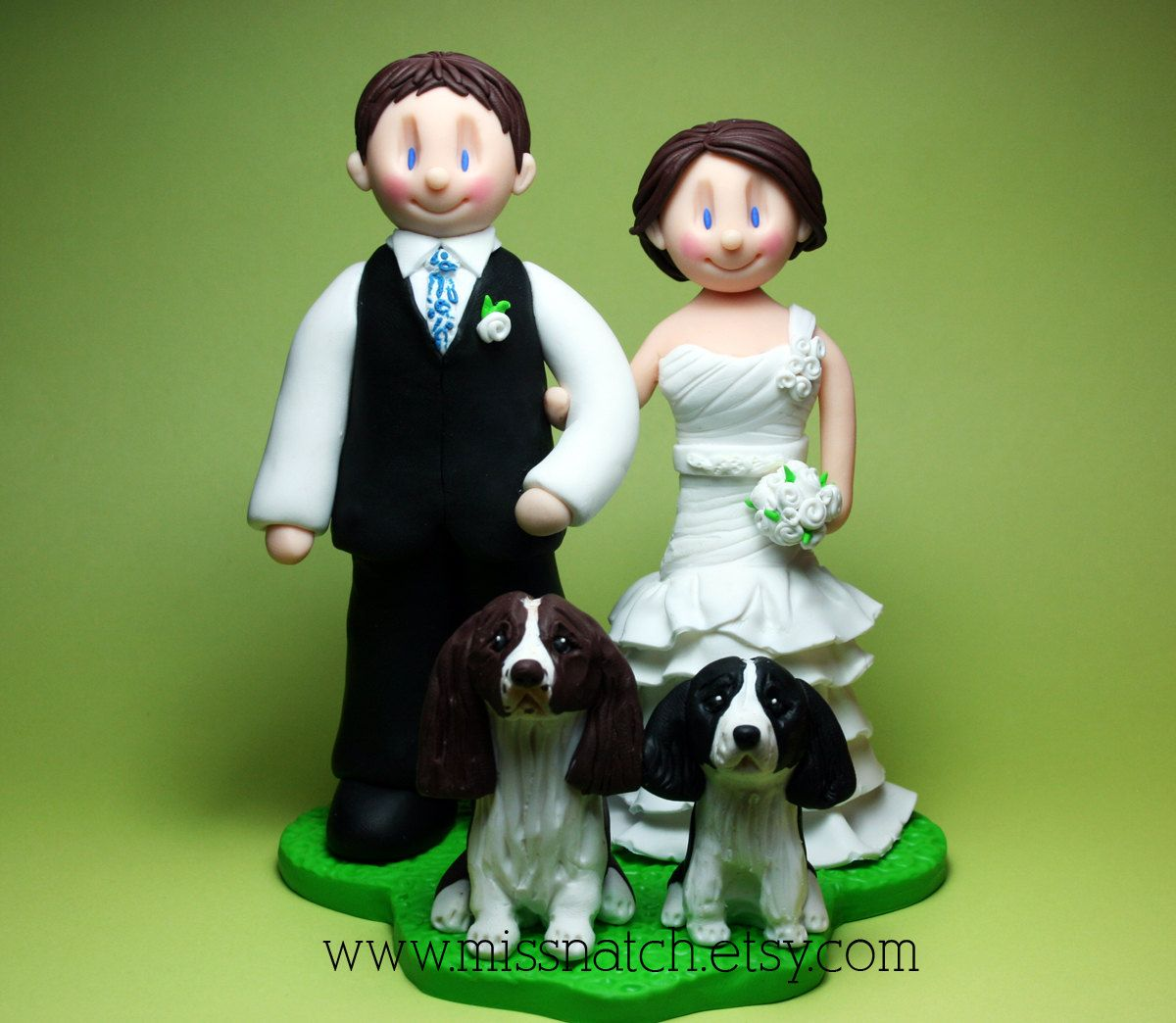White green garden theme wedding cake topper by missnatchsy