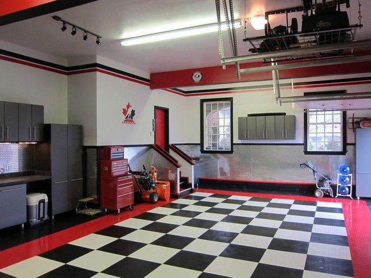 Garage Moderne Carrelage Sol En Damier Noir Et Blanc