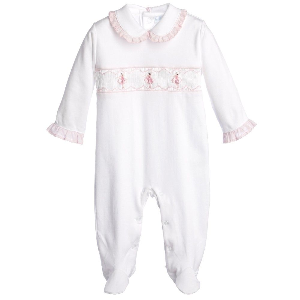 3cd6848cfc576 Mini La Mode baby girls long sleeved babygrow made from a super soft pima  cotton. This adorable babygrow features a hand-smocked front, ...