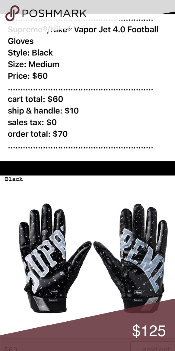 Supreme X Nike Vapor Jet 4 0 Gloves Black Textured Synthetic Leather And Poly Knit Football Gloves With Sticky M Football Gloves Nike Vapor Supreme Accessories