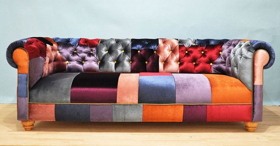 Divano Patchwork ~ Reserve listing for hadewich velvet patch chesterfield patchwork