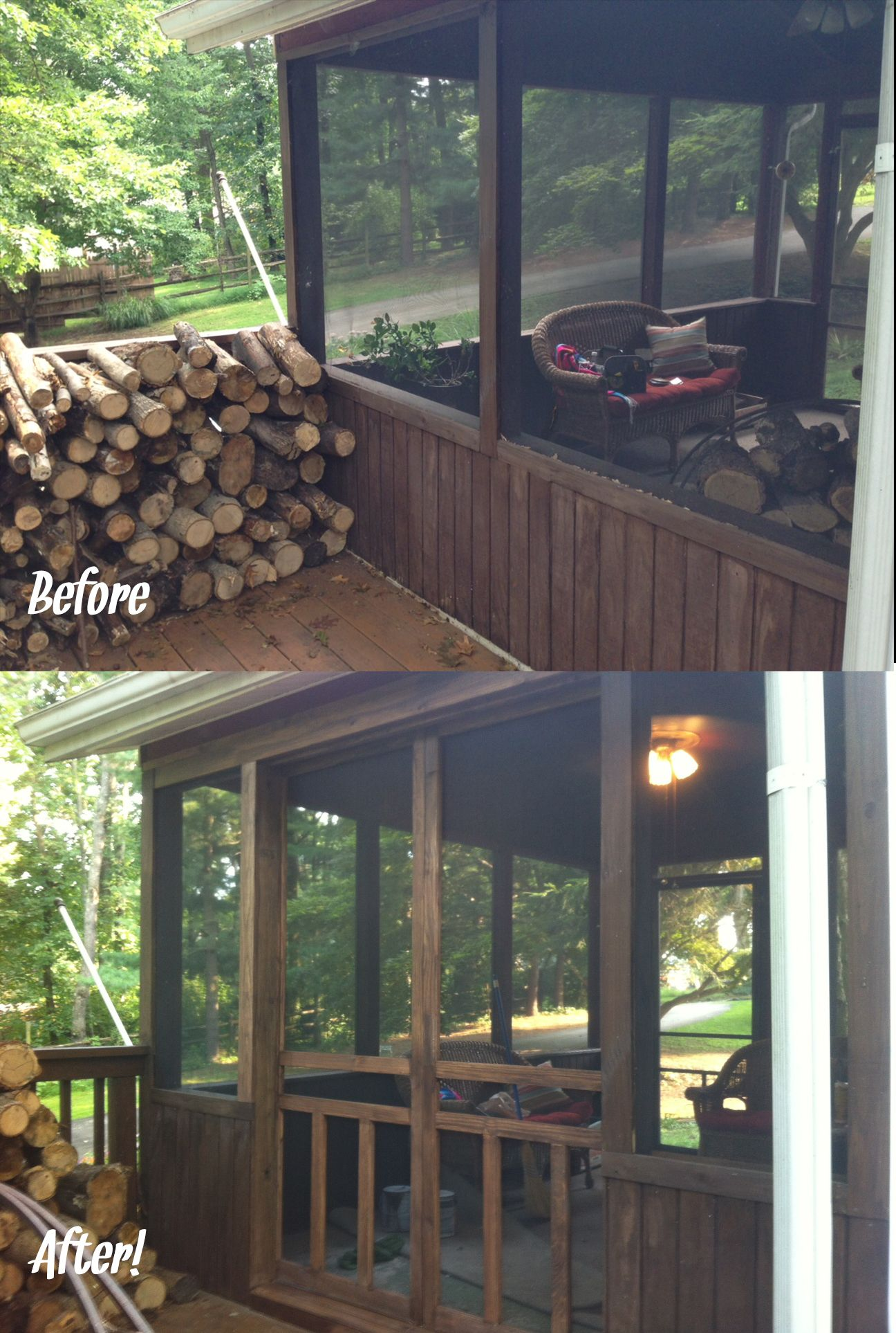 Added Sliding Doors To Connect Our Screened In Porch To Our Deck We