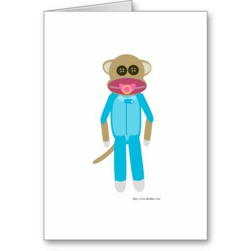 Baby Boy Sock Monkey Greeting Card
