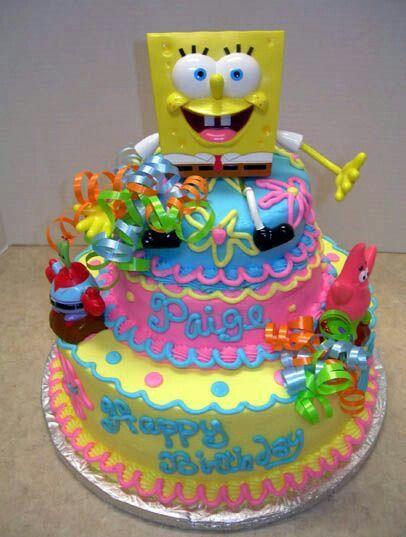 Awesome Girly Spongebob Cake With Images Spongebob Birthday Cake Funny Birthday Cards Online Alyptdamsfinfo