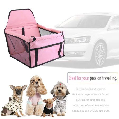 New Portable Dog Car Seat Belt Booster Oxford Travel Bags Folding Pet Carrier Pink