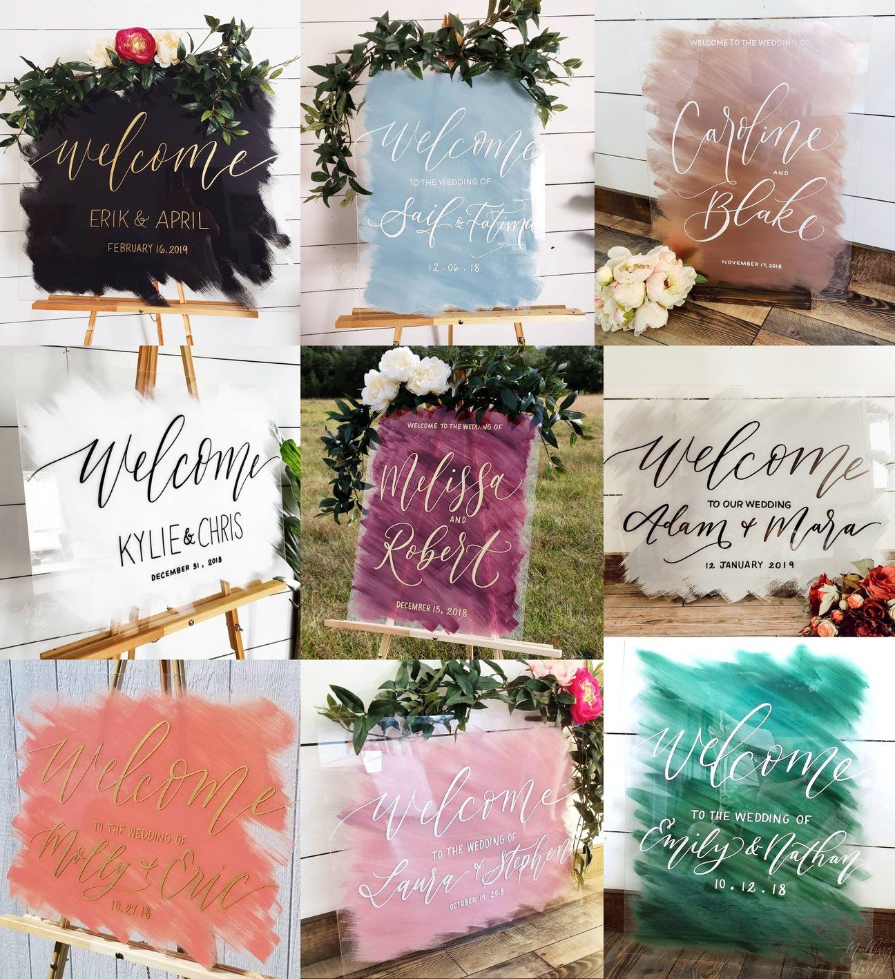 diy welcome wedding sign glass