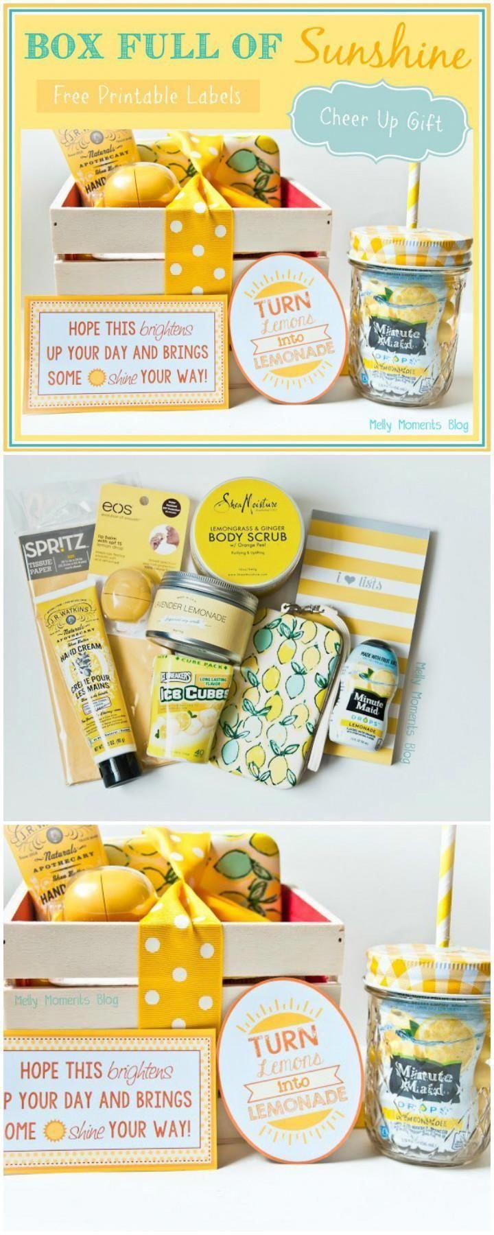 Easy Cheer Up Sunshine Gift Basket - 70+ Inexpensive DIY Gift Basket Ideas - DIY Gifts - DIY & Crafts #uniquechristmasgiftsforkids #boyfriendgiftbasket