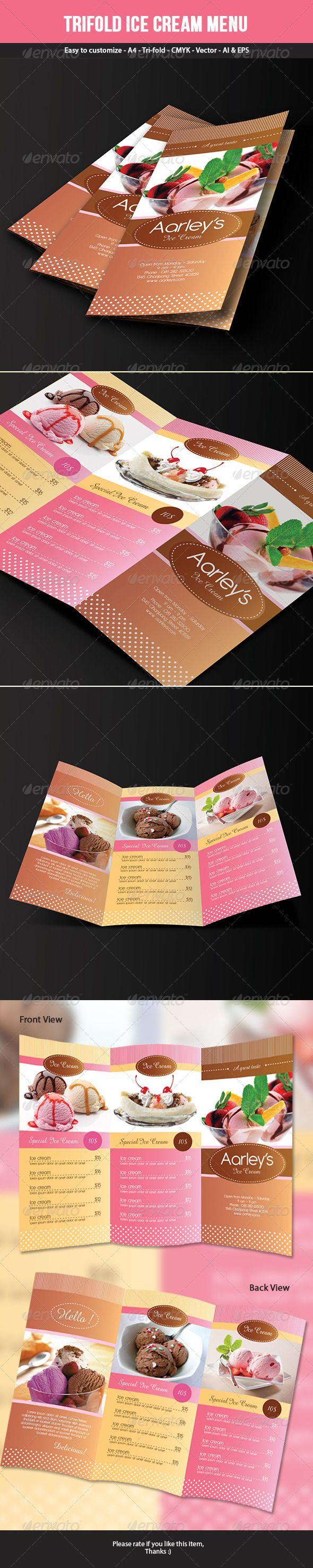 Trifold Ice Cream Menu Template | Tarjetas presentacion, Identidad ...