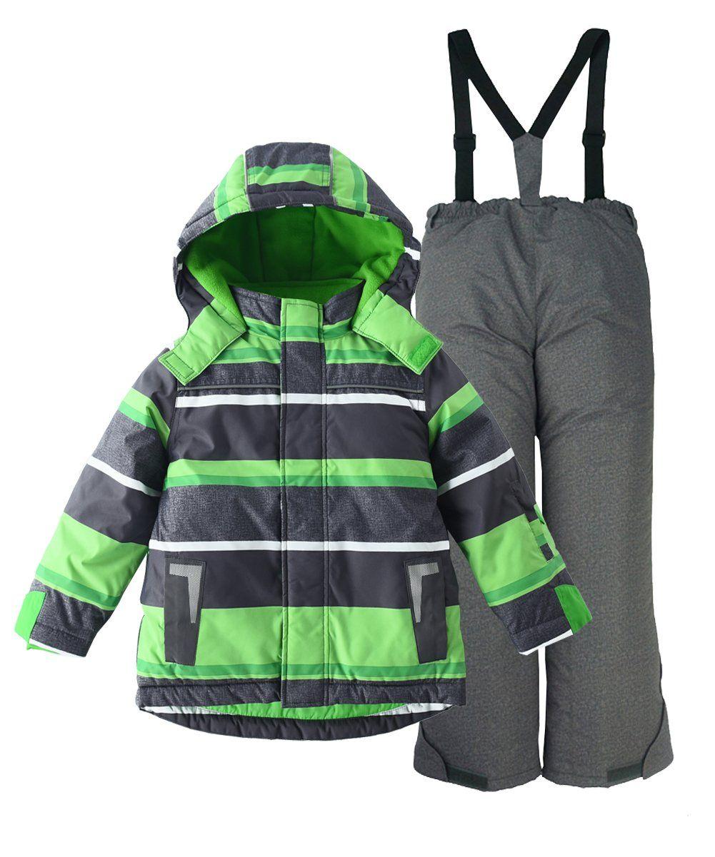 f366c4cb0 M2C Boys Thicken Warm Hooded Striped Ski Snowsuit Jacket   Pants 6T ...