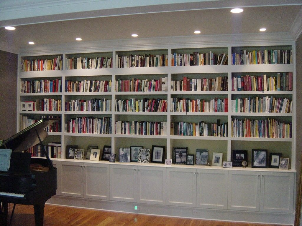 Fabulous Pictures Of Book Shelve Envisioned Family Room Bookshelves White  Wooden Shelves With Four Tear Embellished Recessed Ceiling Lighting Scheme.