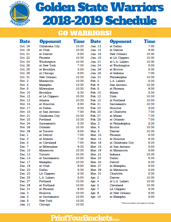 image relating to Warriors Schedule Printable identify Printable 2018-2019 Golden Country Warriors Plan