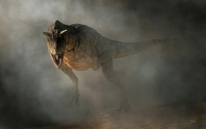 *Carnotaurus Emerging From Fog. Artwork by Daniel Eskridge