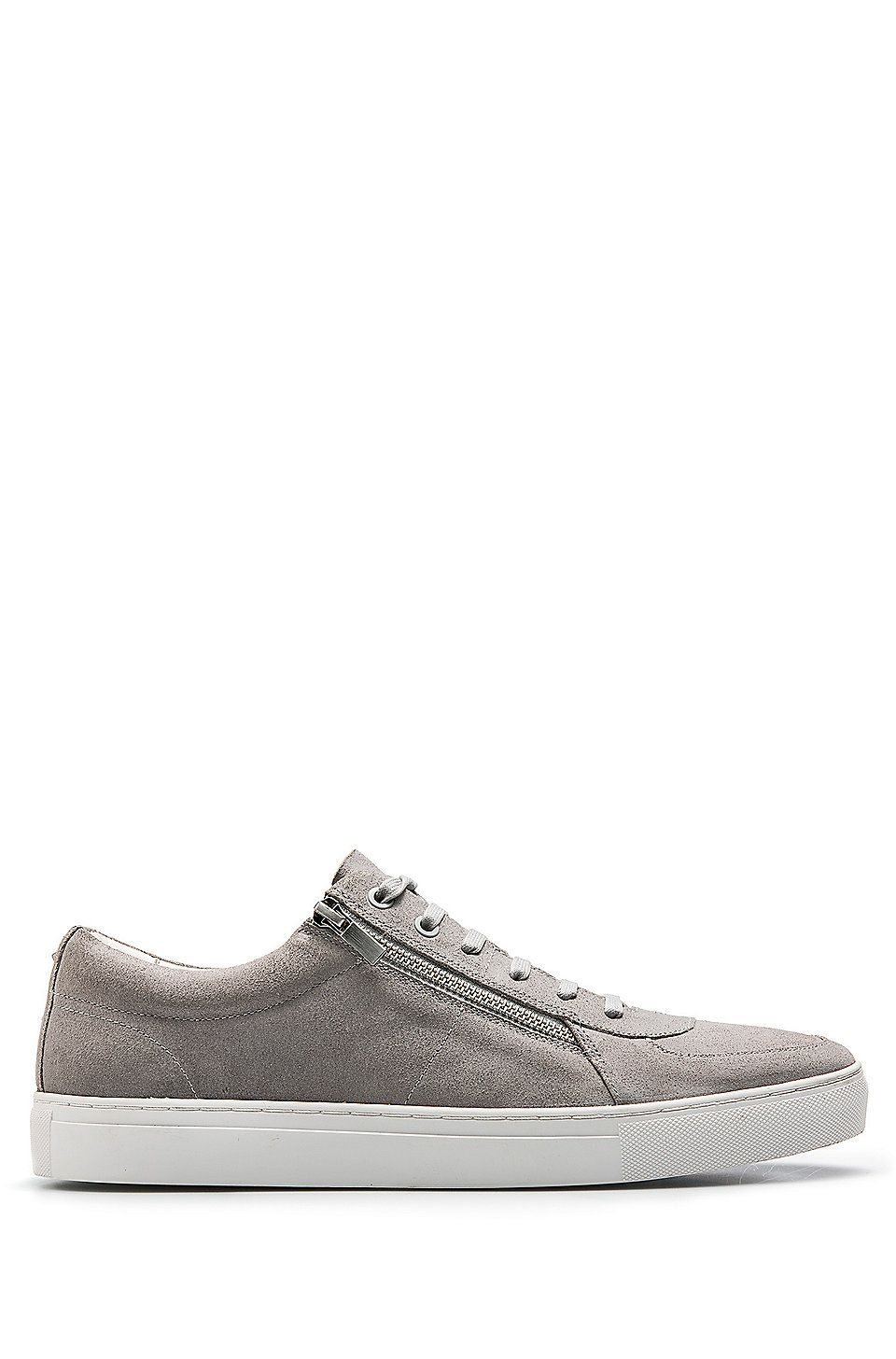 HUGO BOSS Waxed-suede trainers with