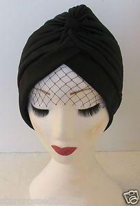 Black Veil Turban Birdcage 1920s Vintage Flapper Headpiece ... a45a1653b94
