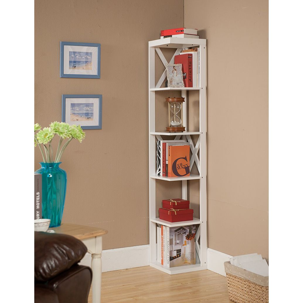 Kub bk corner bookcase white white finish cornerbookshelf
