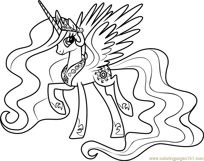 Princess Celestia Coloring Page Free My Little Pony