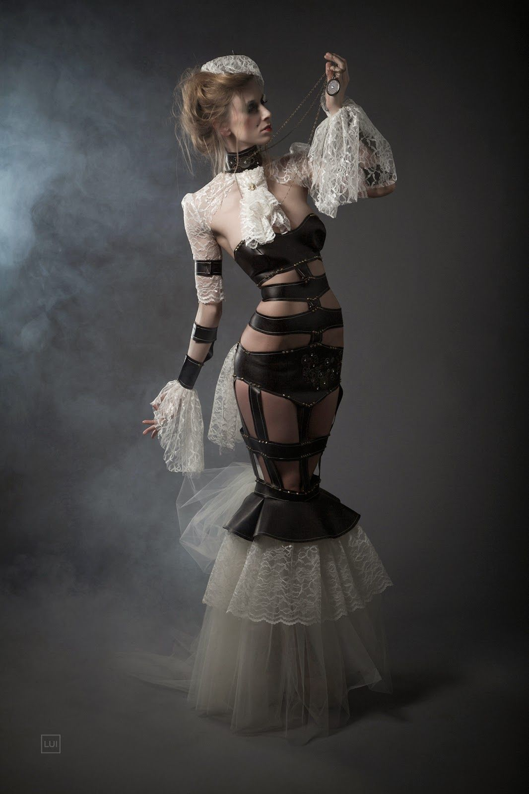 leather and lace steampunk couture dress  lui cardenas photography  photographer  lui cardenas
