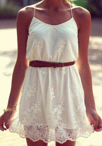 Stylish Women's Spaghetti Strap White Lace Dress