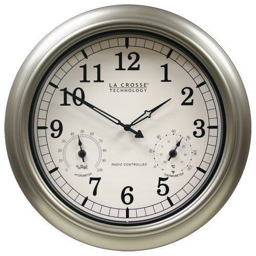 Outdoor Clock Wall Clocks, Atomic Wall Clock With Indoor Outdoor Temperature And Humidity