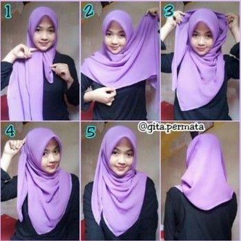 Gambar Tutorial Hijab Segi Empat Untuk Muka Bulat Di 2020 Gaya Hijab Tutorial Hijab Mudah Dan Kursus Hijab