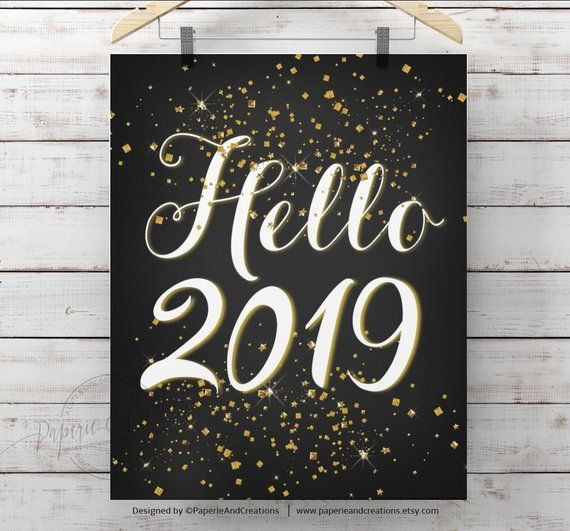 Hello 2020, New Year Eve Sign - Gold Glitter, New Years ...