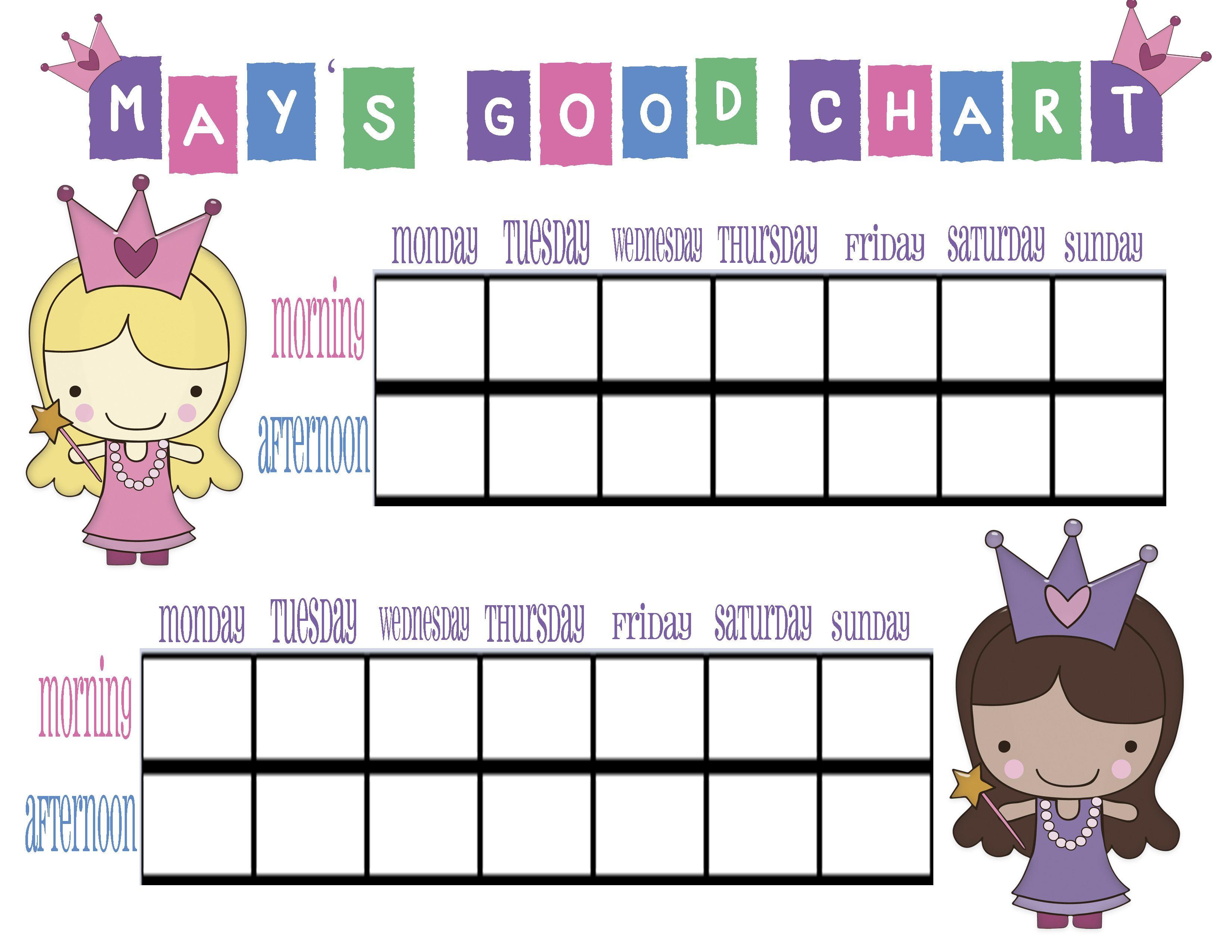 Kid S Good Chart For Good Behavior
