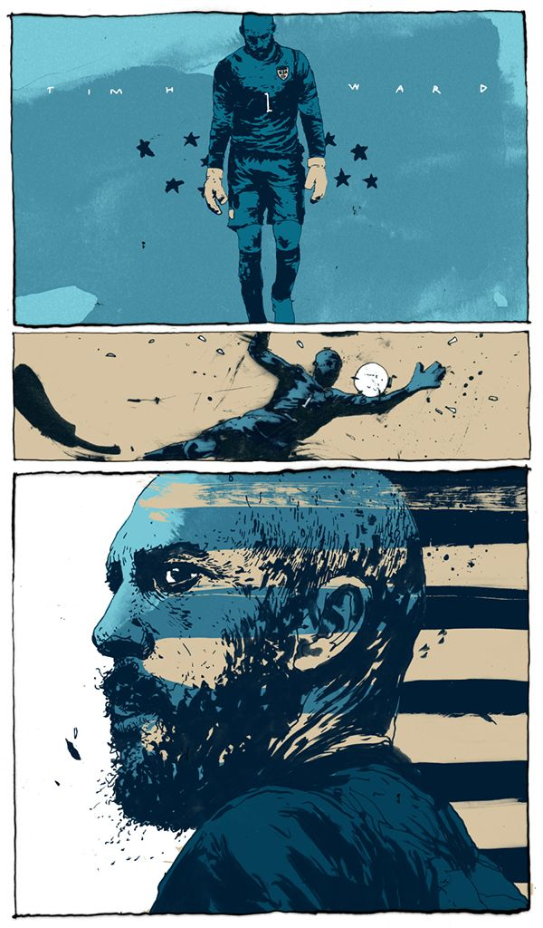 MOMENT OF THE MATCH daily illustration series of the 2014 World Cup for The New Republic: United States vs Belgium: Tim Howard - by Simon Prades